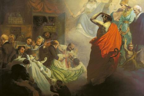 1857 painting by Alexander Beydeman showing historical figures and personifications of homeopathy observing the brutality of medicine of the 19th century. /forrás: wikipedia